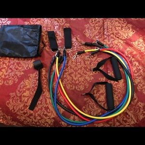 🔥NEW 11pc RESISTANCE BAND HOME FIT KIT SET RUBBER